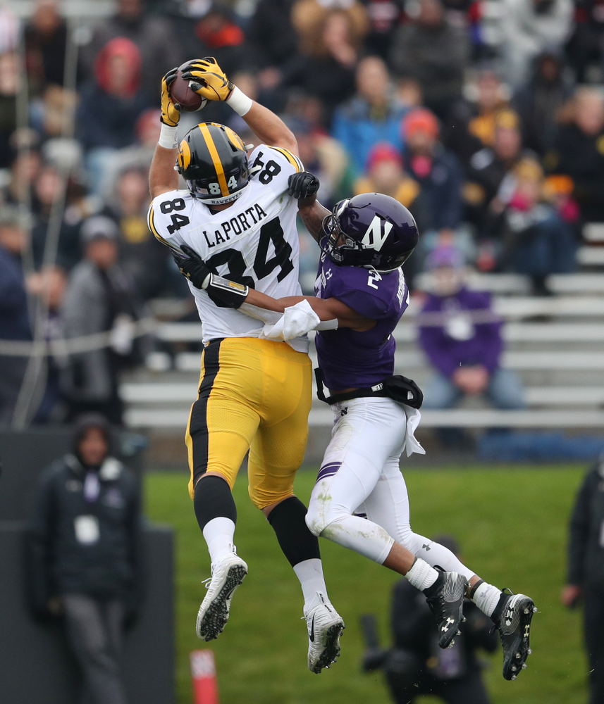 Iowa Hawkeyes tight end Sam LaPorta (84) makes a catch against the Northwestern Wildcats Saturday, October 26, 2019 at Ryan Field in Evanston, Ill. (Brian Ray/hawkeyesports.com)
