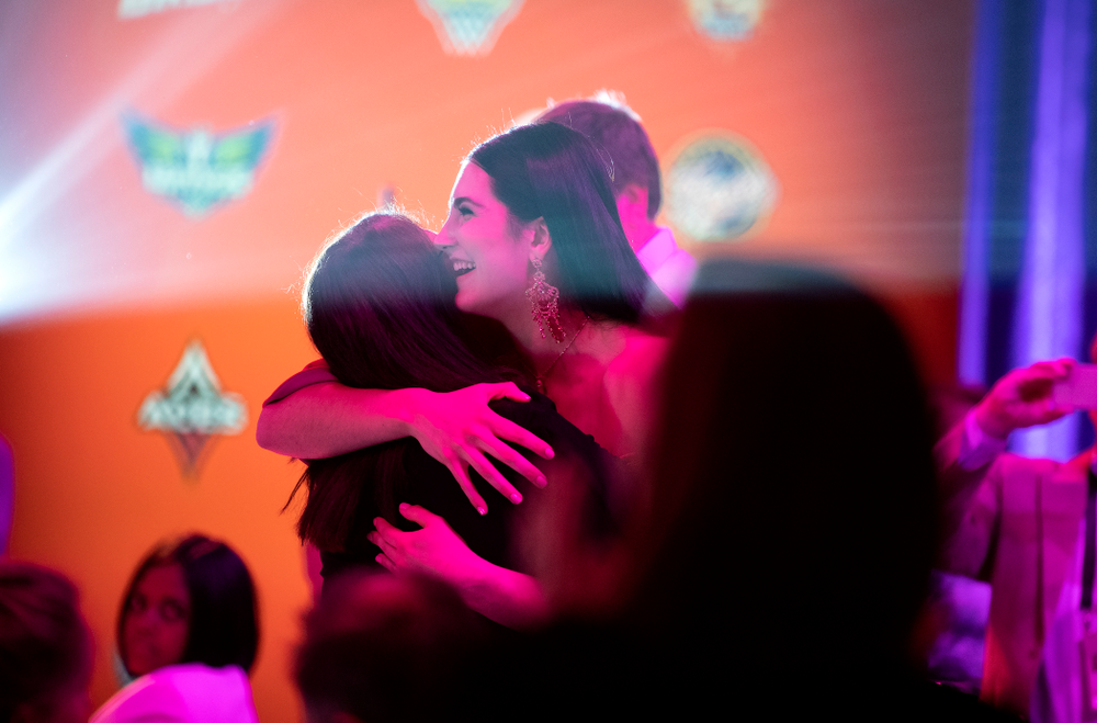 Iowa Hawkeyes forward Megan Gustafson (10) hugs her mother after being selected by the Dallas Wings in the second round of the 2019 WNBA Draft Wednesday, April 10, 2019 at Nike New York Headquarters in New York City. (Brian Ray/hawkeyesports.com)