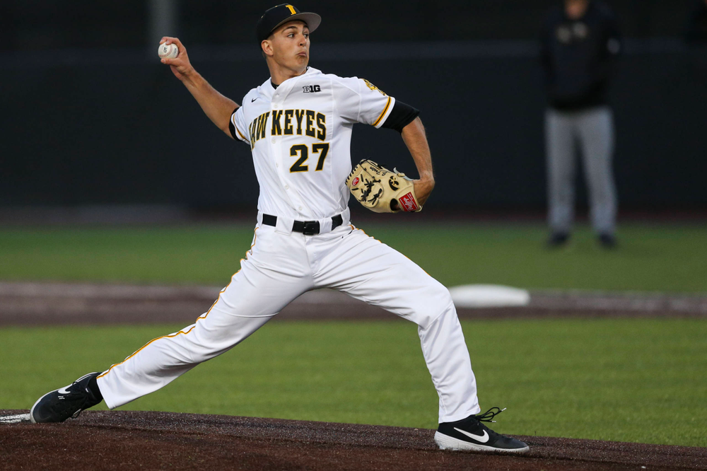 Iowa pitcher Jason Foster at baseball vs Milwaukee on Tuesday, April 23, 2019 at Duane Banks Field. (Lily Smith/hawkeyesports.com)