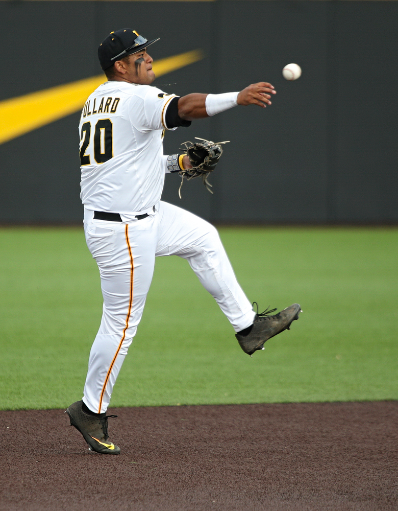 Iowa infielder Izaya Fullard (20) throws to first during the seventh inning of their college baseball game at Duane Banks Field in Iowa City on Wednesday, March 11, 2020. (Stephen Mally/hawkeyesports.com)