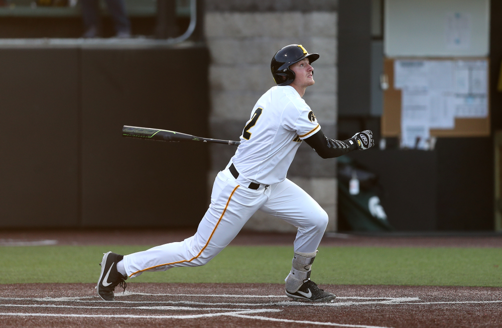 Iowa Hawkeyes infielder Brendan Sher (2) against the Michigan State Spartans Friday, May 10, 2019 at Duane Banks Field. (Brian Ray/hawkeyesports.com)