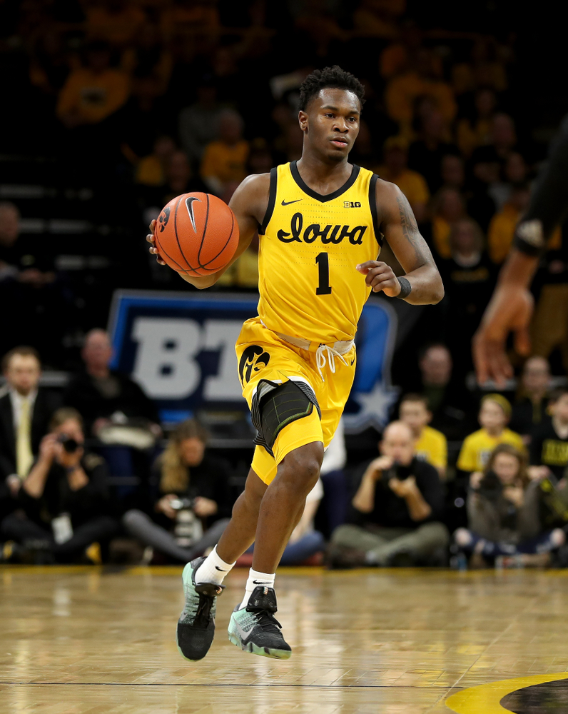 Iowa Hawkeyes guard Joe Toussaint (1) against the Nebraska Cornhuskers Saturday, February 8, 2020 at Carver-Hawkeye Arena. (Brian Ray/hawkeyesports.com)