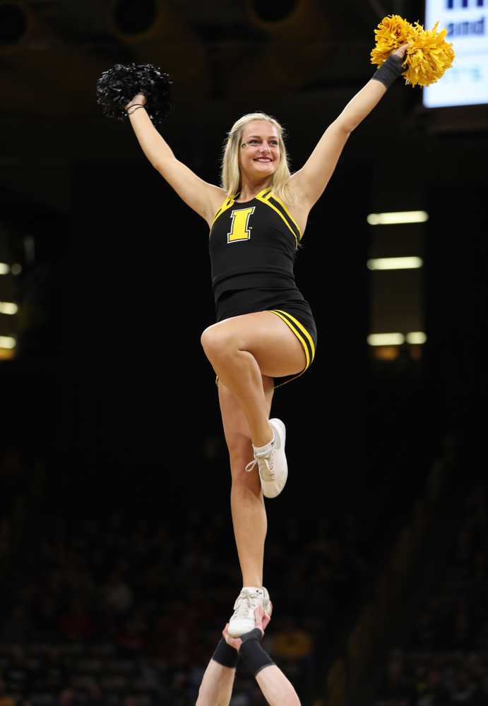 The Iowa Cheerleaders against the Nebraska Cornhuskers Thursday, January 3, 2019 at Carver-Hawkeye Arena. (Brian Ray/hawkeyesports.com)