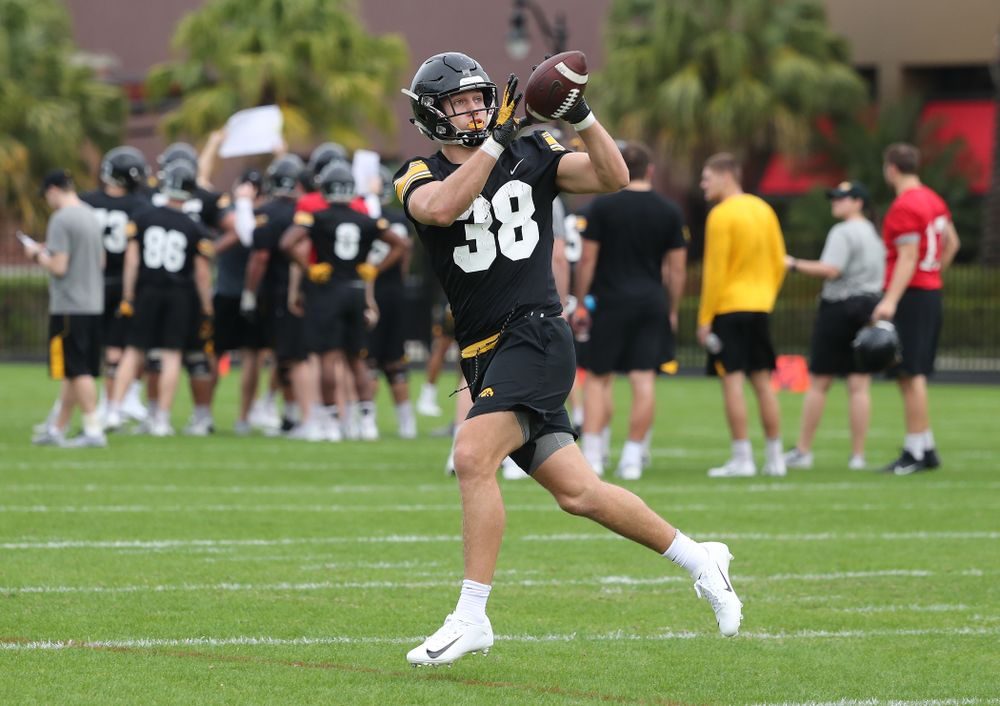 Iowa Hawkeyes tight end T.J. Hockenson (38) during the team's first Outback Bowl Practice in Florida Thursday, December 27, 2018 at Tampa University. (Brian Ray/hawkeyesports.com)
