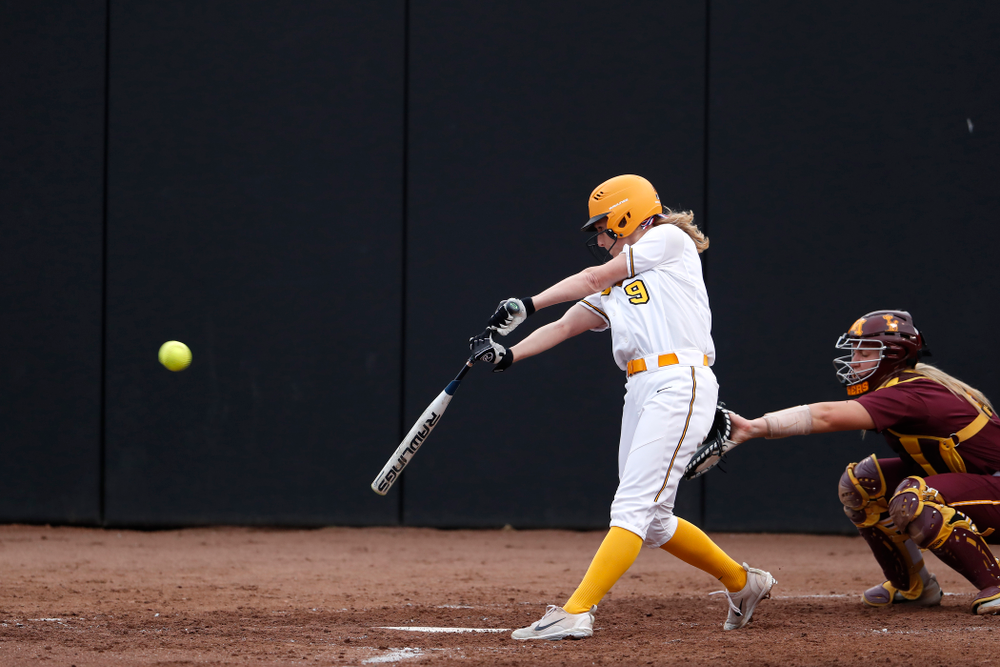 Iowa Hawkeyes infielder Sarah Kurtz (9) against the Minnesota Golden Gophers  Thursday, April 12, 2018 at Bob Pearl Field. (Brian Ray/hawkeyesports.com)