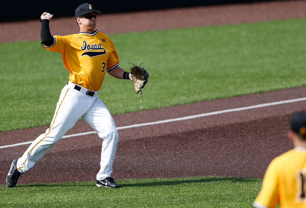 Iowa Hawkeyes infielder Matt Hoeg (3) throws to second base during a game against Evansville at Duane Banks Field on March 18, 2018. (Tork Mason/hawkeyesports.com)