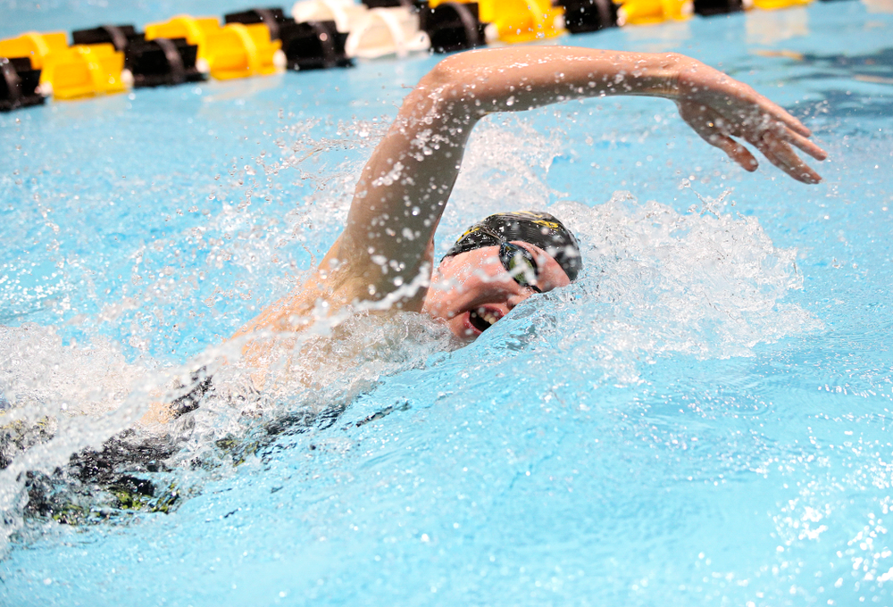 Iowa's Allyssa Fluit swims the women's 200 yard freestyle final event during the 2020 Women's Big Ten Swimming and Diving Championships at the Campus Recreation and Wellness Center in Iowa City on Friday, February 21, 2020. (Stephen Mally/hawkeyesports.com)