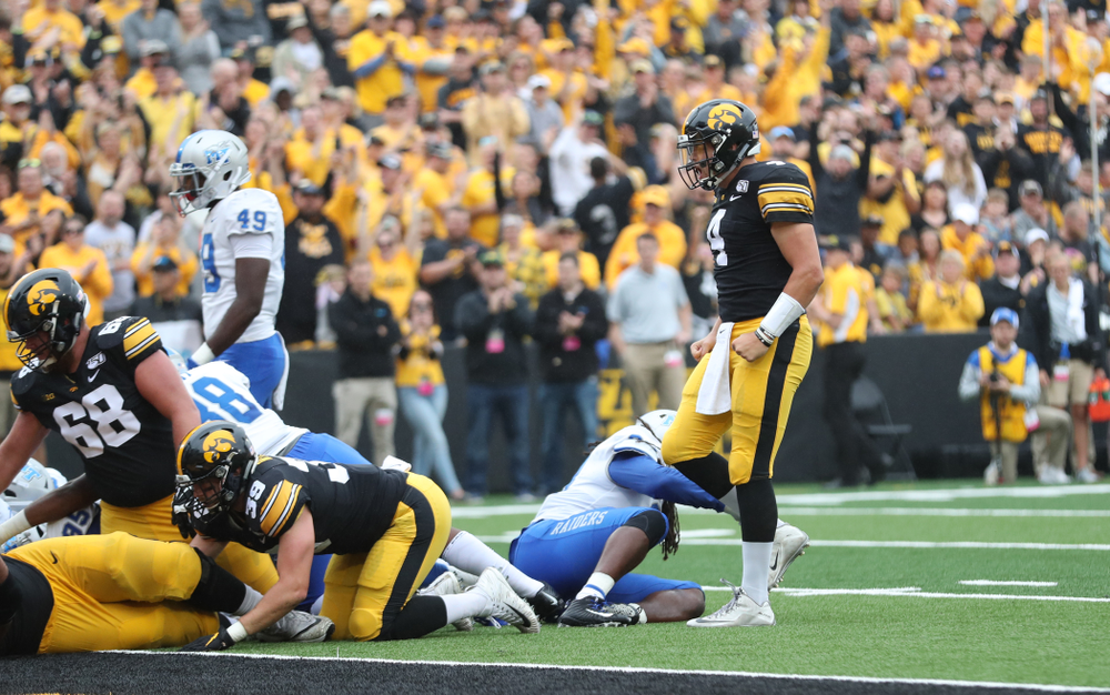 Iowa Hawkeyes quarterback Nate Stanley (4) celebrates a touchdown against Middle Tennessee State Saturday, September 28, 2019 at Kinnick Stadium. (Max Allen/hawkeyesports.com)