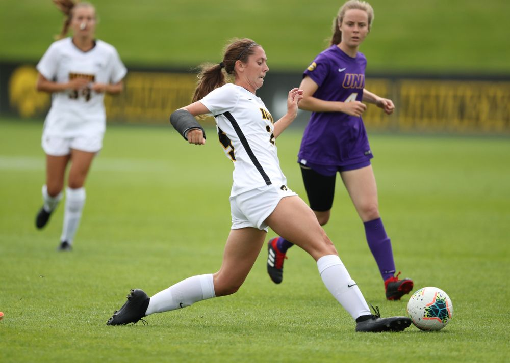 Iowa Hawkeyes midfielder Josie Durr (25) during a 6-1 win over Northern Iowa Sunday, August 25, 2019 at the Iowa Soccer Complex. (Brian Ray/hawkeyesports.com)