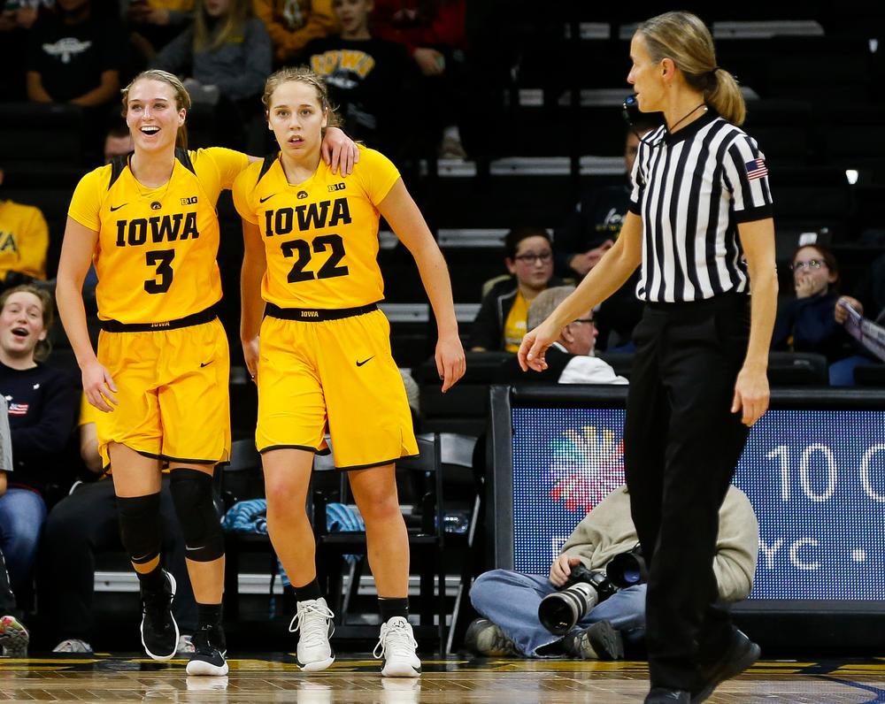 Iowa Hawkeyes guard Makenzie Meyer (3), Iowa Hawkeyes guard Kathleen Doyle (22)