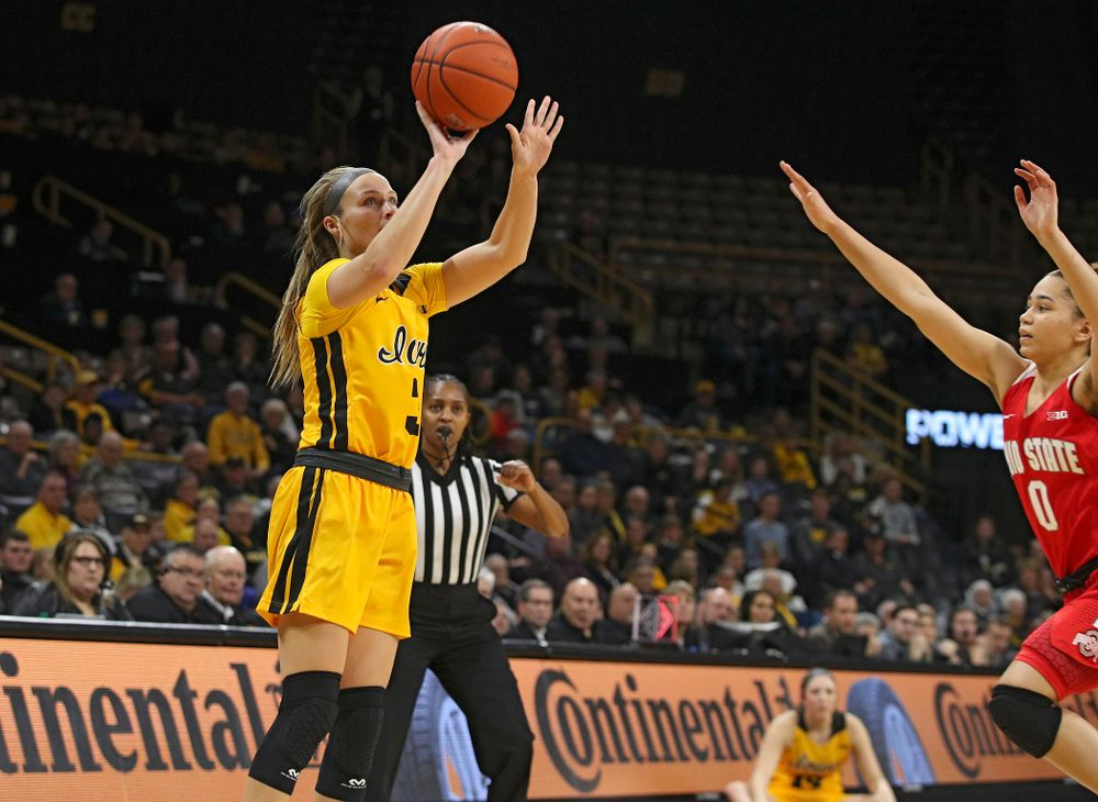 Iowa Hawkeyes guard Makenzie Meyer (3) makes a 3-pointer during the second quarter of their game at Carver-Hawkeye Arena in Iowa City on Thursday, January 23, 2020. (Stephen Mally/hawkeyesports.com)