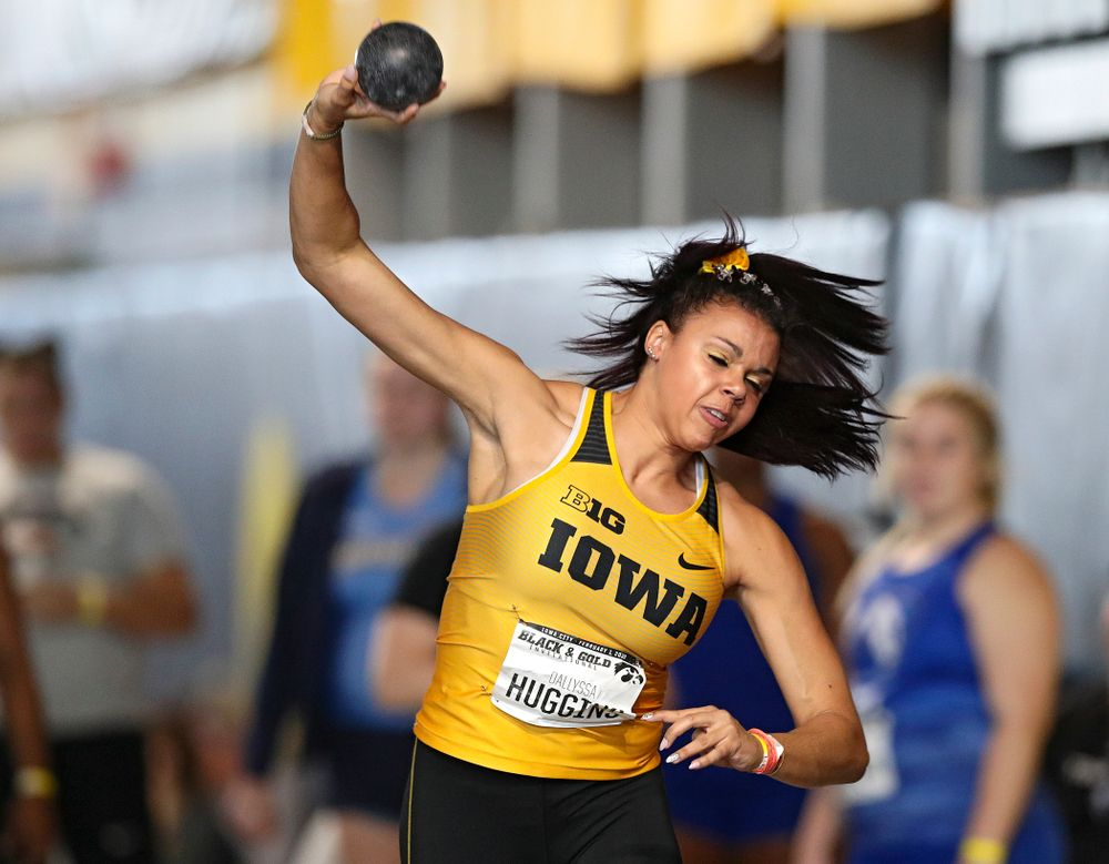 Iowa's Dallyssa Huggins competes in the women's shot put event at the Black and Gold Invite at the Recreation Building in Iowa City on Saturday, February 1, 2020. (Stephen Mally/hawkeyesports.com)
