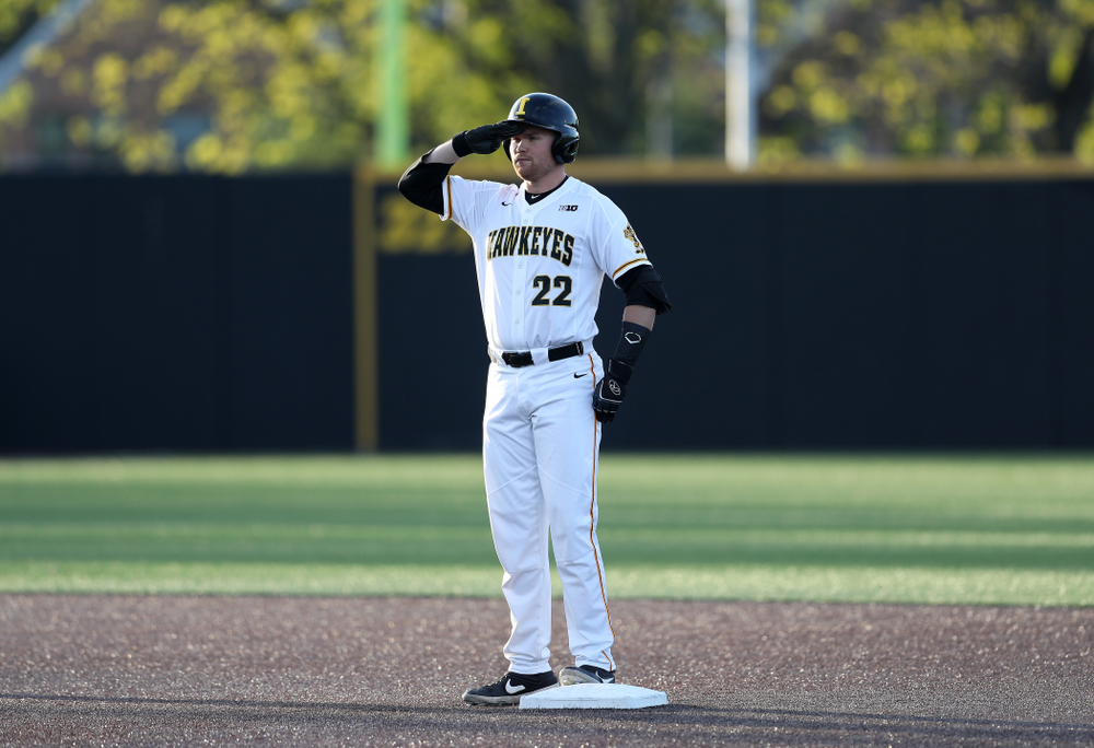 Iowa Hawkeyes Tanner Padgett (22) against the Michigan State Spartans Friday, May 10, 2019 at Duane Banks Field. (Brian Ray/hawkeyesports.com)