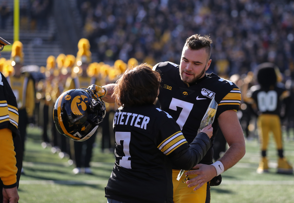 Iowa Hawkeyes punter Colten Rastetter (7) during Senior Day festivities before their game against the Illinois Fighting Illini Saturday, November 23, 2019 at Kinnick Stadium. (Brian Ray/hawkeyesports.com)
