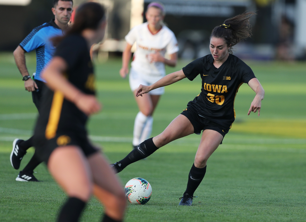 Iowa Hawkeyes forward Devin Burns (30) during a 2-1 victory over the Iowa State Cyclones Thursday, August 29, 2019 in the Iowa Corn Cy-Hawk series at the Iowa Soccer Complex. (Brian Ray/hawkeyesports.com)