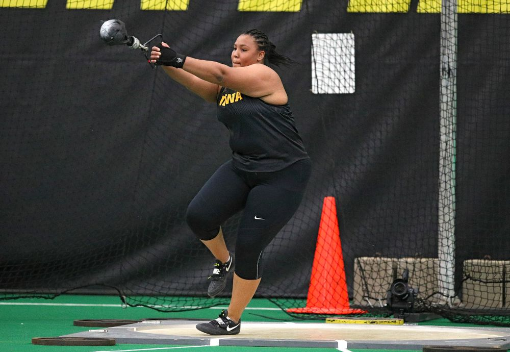 Iowa's Ianna Roach throws in the women's weight throw event during the Hawkeye Invitational at the Hawkeye Tennis and Recreation Complex in Iowa City on Friday, January 10, 2020. (Stephen Mally/hawkeyesports.com)