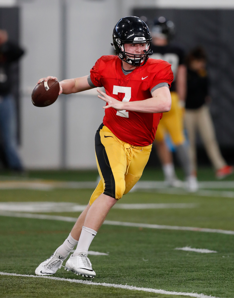 Iowa Hawkeyes quarterback Spencer Petras (7) during spring practice Wednesday, March 28, 2018 at the Hansen Football Performance Center.  (Brian Ray/hawkeyesports.com)