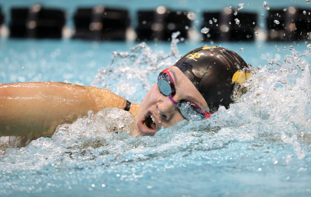 Iowa's Lauren McDougall swims the 200 yard freestyle during a double dual against Wisconsin and Northwestern Saturday, January 19, 2019 at the Campus Recreation and Wellness Center. (Brian Ray/hawkeyesports.com)