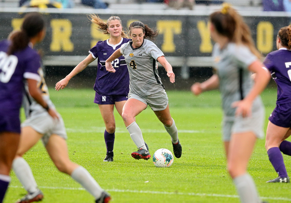 Iowa forward Kaleigh Haus (4) moves with the ball during the second half of their match at the Iowa Soccer Complex in Iowa City on Sunday, Sep 29, 2019. (Stephen Mally/hawkeyesports.com)