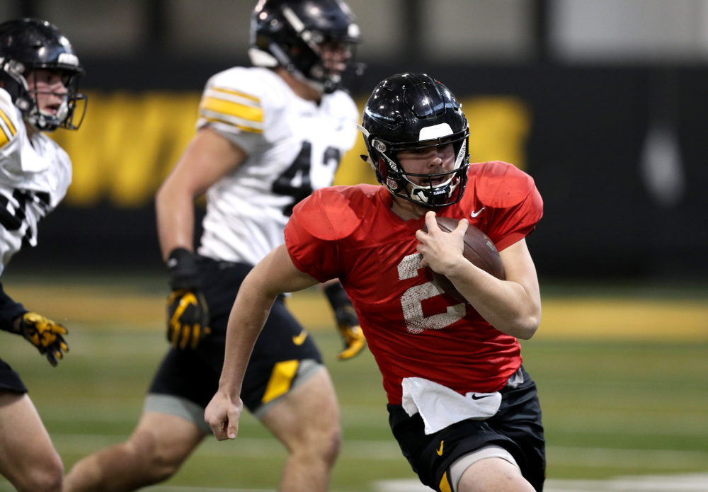 Iowa Hawkeyes quarterback Peyton Mansell (2) during practice Wednesday, December 12, 2018 at the Hansen Football Performance Center in preparation for the Outback Bowl game against Mississippi State. (Brian Ray/hawkeyesports.com)