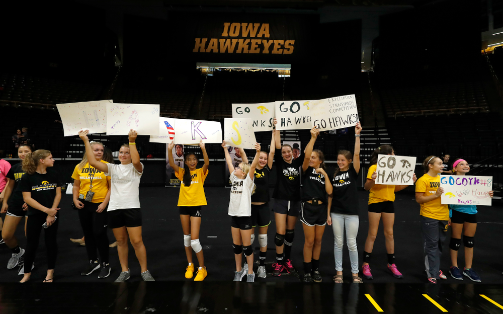 Young fans cheer on the Iowa Hawkeyes before their game against Eastern Illinois Sunday, September 9, 2018 at Carver-Hawkeye Arena. (Brian Ray/hawkeyesports.com)