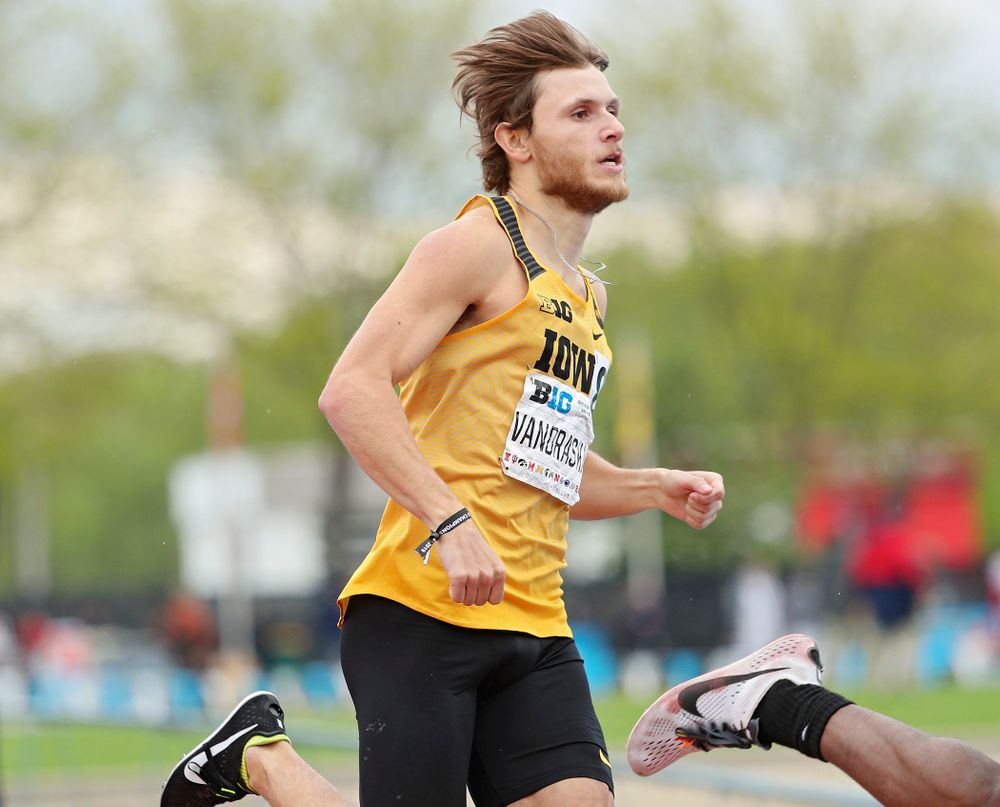 Iowa's Tysen VanDraska runs the men's 800 meter event on the third day of the Big Ten Outdoor Track and Field Championships at Francis X. Cretzmeyer Track in Iowa City on Sunday, May. 12, 2019. (Stephen Mally/hawkeyesports.com)