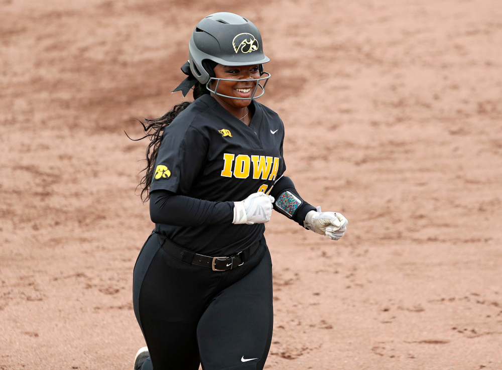 Iowa DoniRae Mayhew (24) rounds the bases after hitting a 2-run home run during the fourth inning of their game against Iowa Softball vs Indian Hills Community College at Pearl Field in Iowa City on Sunday, Oct 6, 2019. (Stephen Mally/hawkeyesports.com)