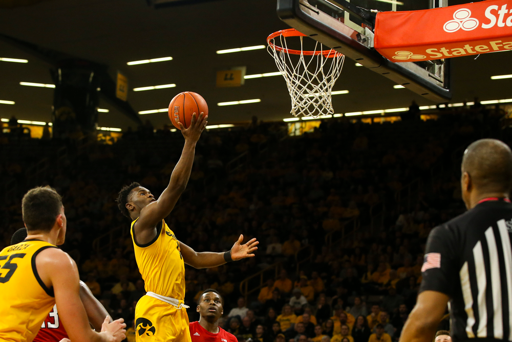 Iowa Hawkeyes guard Joe Toussaint (1) attempts a layup during the Iowa men's basketball game vs Rutgers on Wednesday, January 22, 2020 at Carver-Hawkeye Arena. (Lily Smith/hawkeyesports.com)