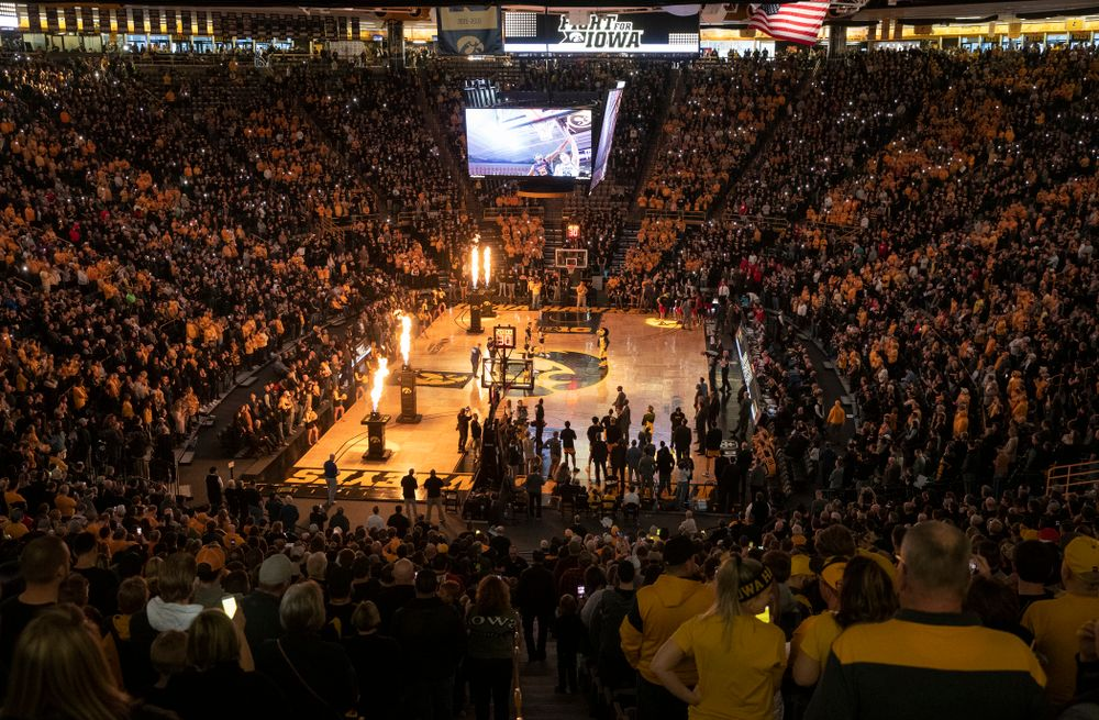 Iowa fans cheer before the game at Carver-Hawkeye Arena in Iowa City on Saturday, February 8, 2020. (Stephen Mally/hawkeyesports.com)