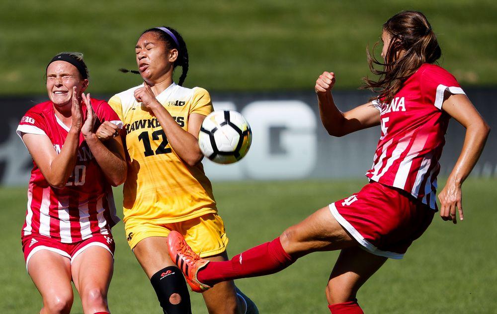 Iowa Hawkeyes forward Olivia Fiegel (12) blocks a pass during a game against Indiana at the Iowa Soccer Complex on September 23, 2018. (Tork Mason/hawkeyesports.com)