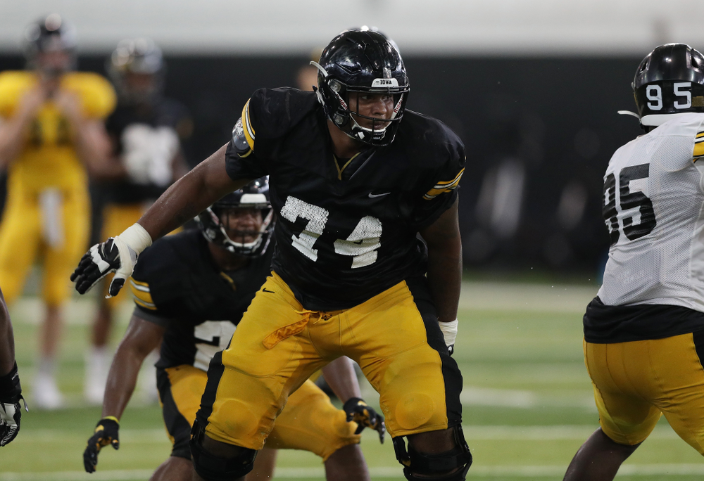 Iowa Hawkeyes offensive lineman Tristan Wirfs (74) during Fall Camp Practice No. 6 Thursday, August 8, 2019 at the Ronald D. and Margaret L. Kenyon Football Practice Facility. (Brian Ray/hawkeyesports.com)