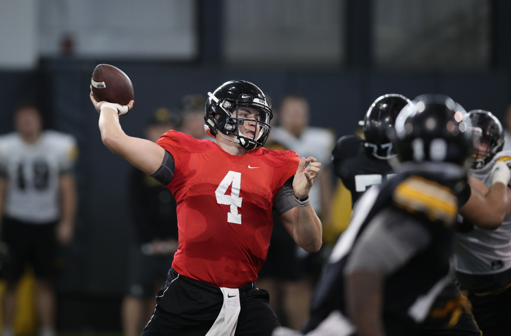 Iowa Hawkeyes quarterback Nate Stanley (4) during preparation for the 2019 Outback Bowl Monday, December 17, 2018 at the Hansen Football Performance Center. (Brian Ray/hawkeyesports.com)