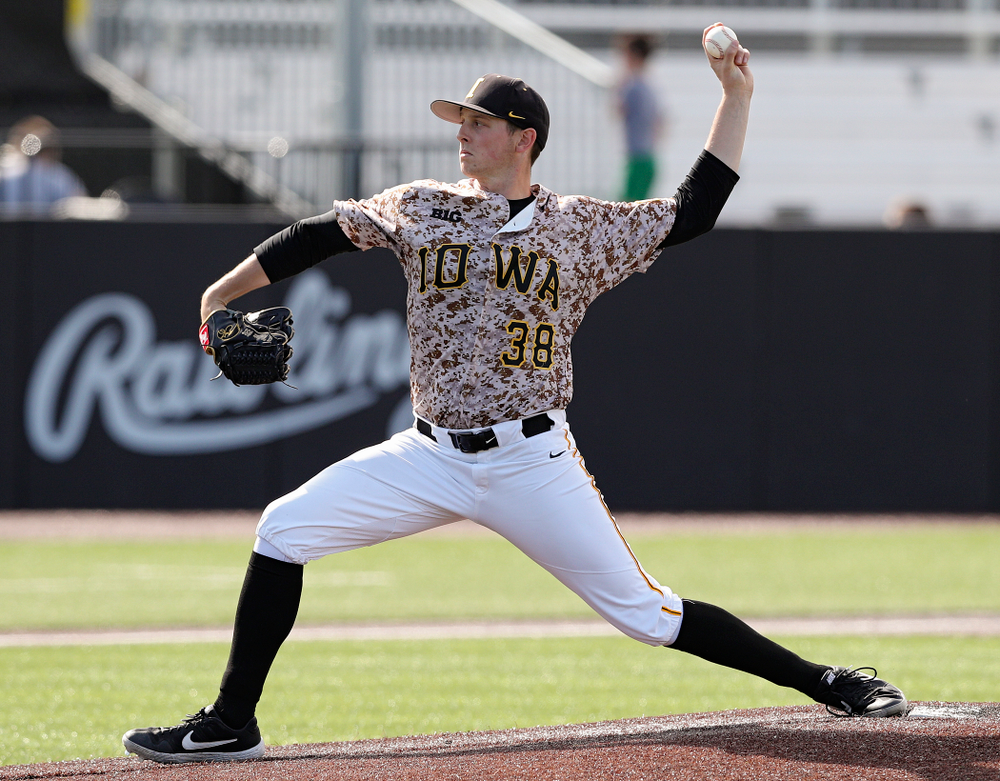 Iowa Hawkeyes pitcher Trenton Wallace (38) delivers to the plate during the ninth inning of their game against UC Irvine at Duane Banks Field in Iowa City on Sunday, May. 5, 2019. (Stephen Mally/hawkeyesports.com)