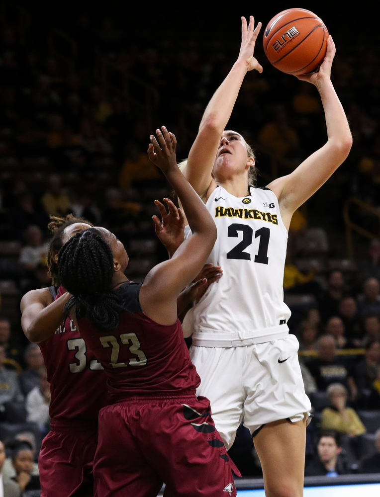 Iowa Hawkeyes forward Hannah Stewart (21) puts up a shot during a game against North Carolina Central at Carver-Hawkeye Arena on November 17, 2018. (Tork Mason/hawkeyesports.com)