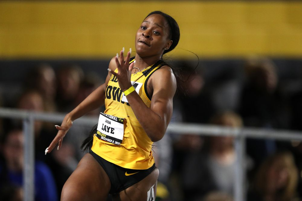 Iowa's Jada Laye runs the 300 meters during the Jimmy Grant Invitational Saturday, December 8, 2018 at the Recreation Building. (Brian Ray/hawkeyesports.com)