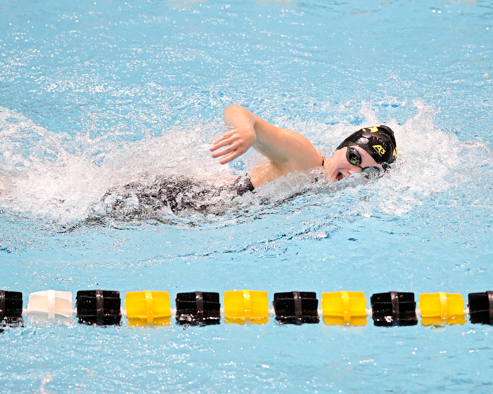 Iowa's Taylor Hartley swims the women's 200 yard freestyle event during their meet at the Campus Recreation and Wellness Center in Iowa City on Friday, February 7, 2020. (Stephen Mally/hawkeyesports.com)