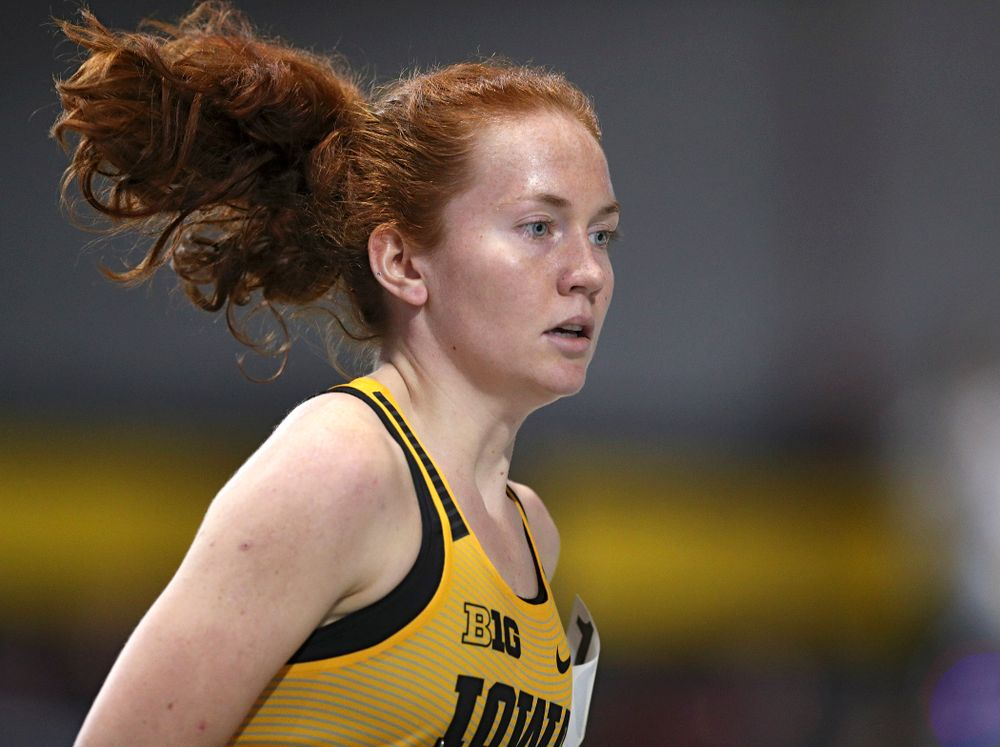 Iowa's Marcie Weber runs the women's 1 mile run event at the Black and Gold Invite at the Recreation Building in Iowa City on Saturday, February 1, 2020. (Stephen Mally/hawkeyesports.com)