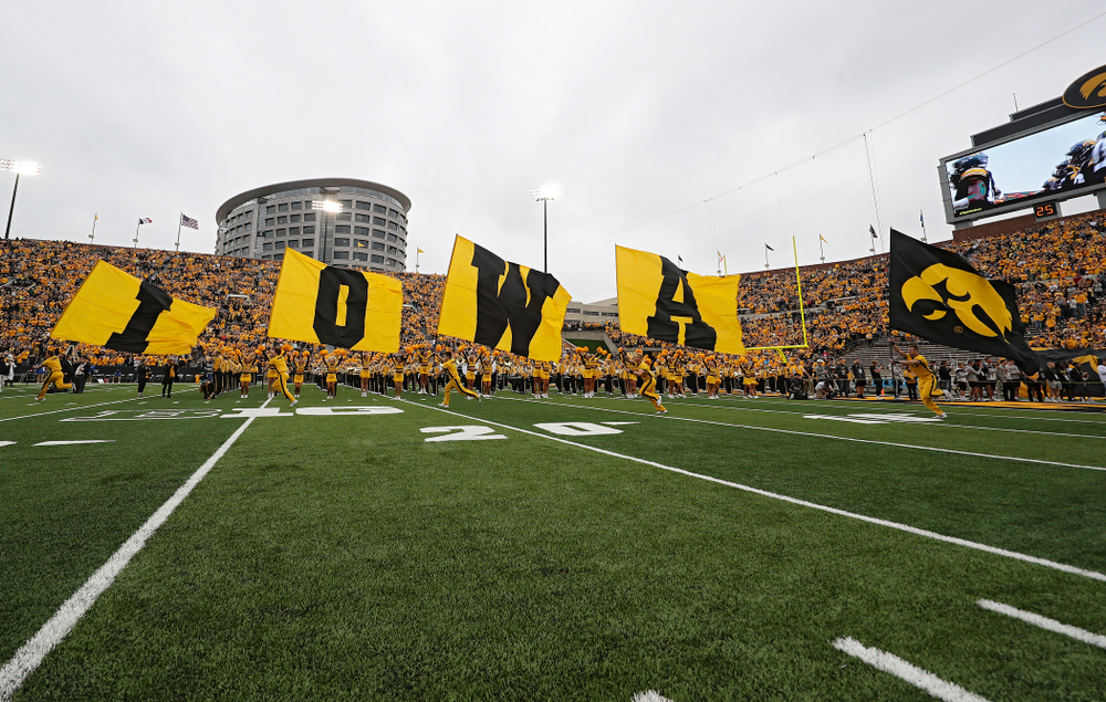 The Hawkeyes take the field before their game at Kinnick Stadium in Iowa City on Saturday, Sep 28, 2019. (Stephen Mally/hawkeyesports.com)