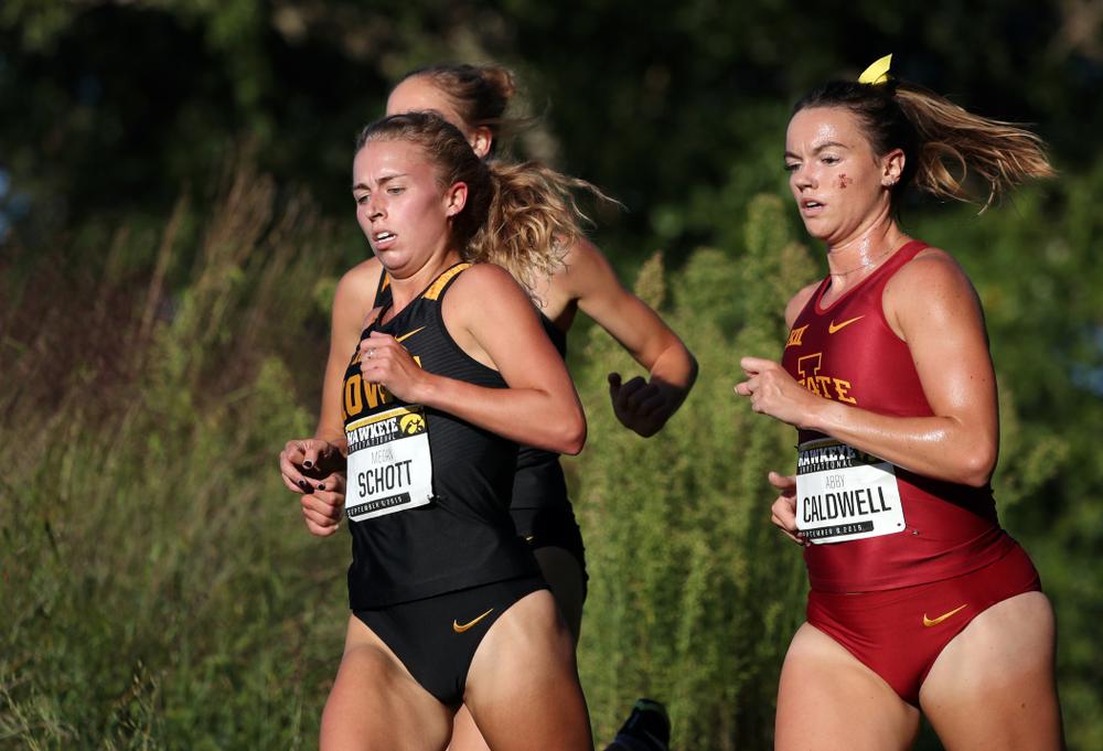 IowaÕs Megan Schott runs in the 2019 Hawkeye Invitational Friday, September 6, 2019 at the Ashton Cross Country Course. (Brian Ray/hawkeyesports.com)