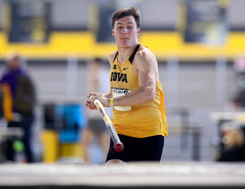 Iowa's Austin West competes in the men's pole vault event at the Black and Gold Invite at the Recreation Building in Iowa City on Saturday, February 1, 2020. (Stephen Mally/hawkeyesports.com)