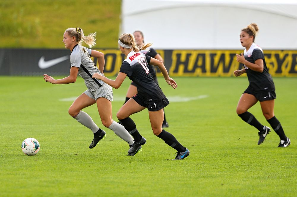 Iowa midfielder Hailey Rydberg (2) moves with the ball during the first half of their match at the Iowa Soccer Complex in Iowa City on Sunday, Sep 1, 2019. (Stephen Mally/hawkeyesports.com)