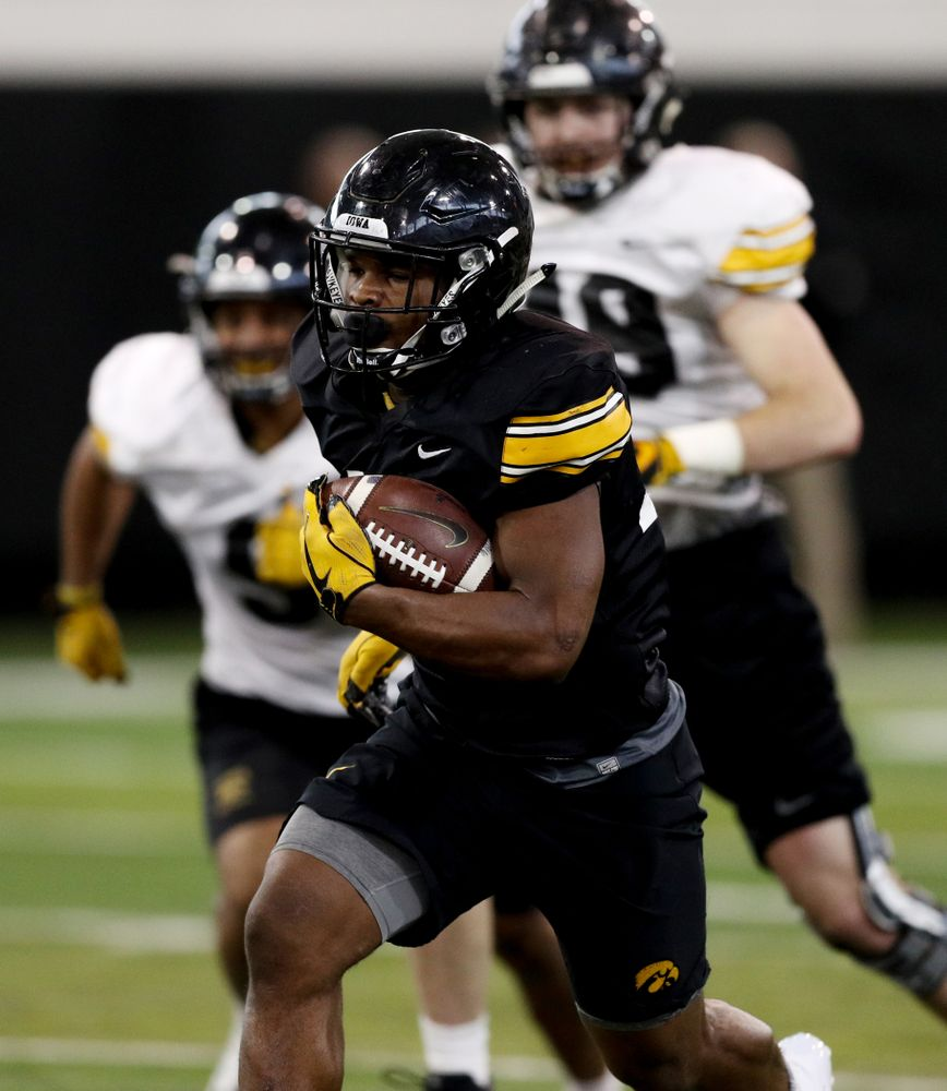 Iowa Hawkeyes running back Mekhi Sargent (10) during practice Wednesday, December 12, 2018 at the Hansen Football Performance Center in preparation for the Outback Bowl game against Mississippi State. (Brian Ray/hawkeyesports.com)