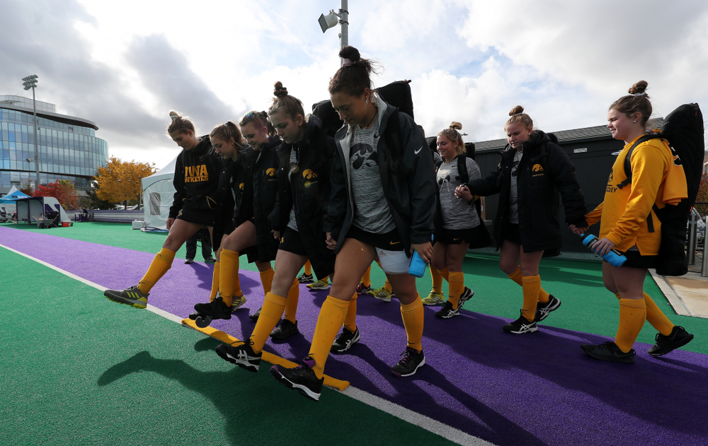 The sophomores cross the line before their game against the Michigan Wolverines in the semi-finals of the Big Ten Tournament Friday, November 2, 2018 at Lakeside Field on the campus of Northwestern University in Evanston, Ill. (Brian Ray/hawkeyesports.com)