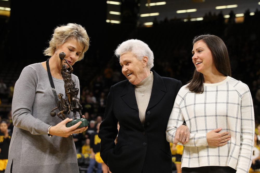 Dr. Christine Grant with Iowa Hawkeyes head coach Lisa Bluder before their game against the Robert Morris Colonials Sunday, December 2, 2018 at Carver-Hawkeye Arena. (Brian Ray/hawkeyesports.com)