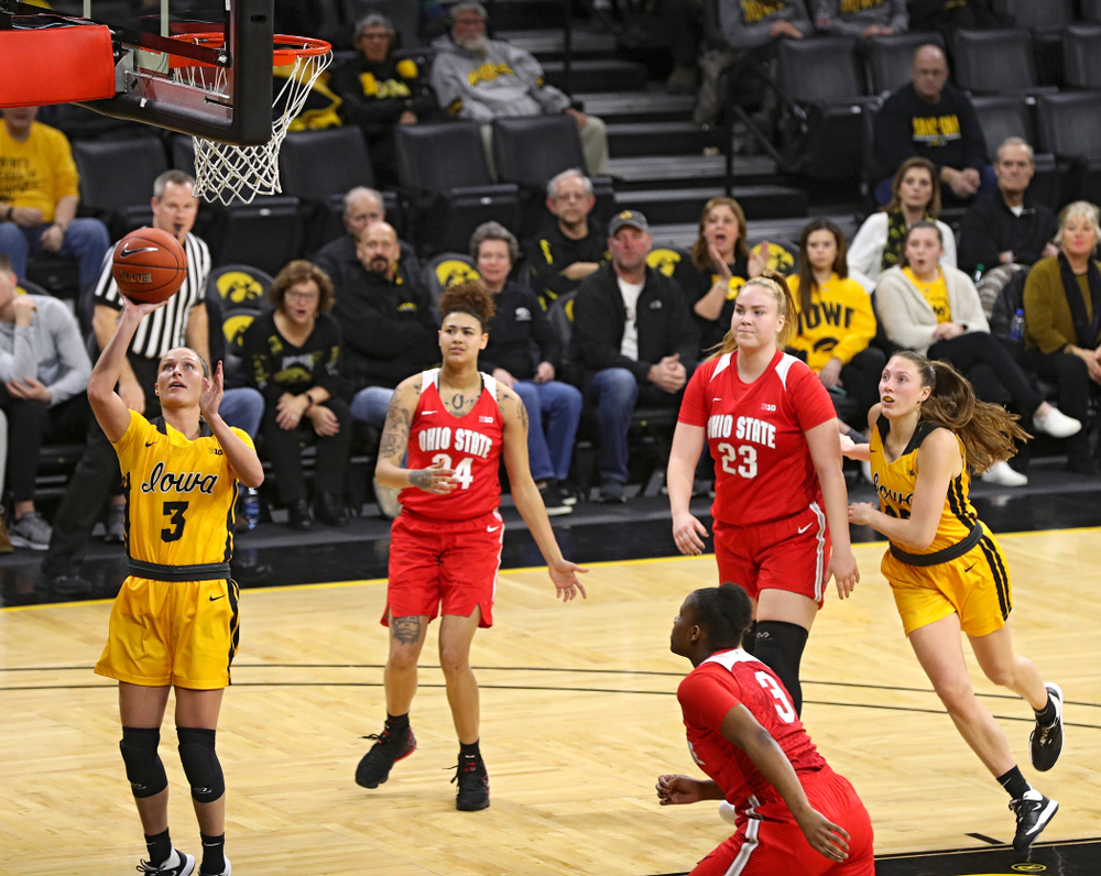 Iowa Hawkeyes guard Makenzie Meyer (3) scores a basket during the third quarter of their game at Carver-Hawkeye Arena in Iowa City on Thursday, January 23, 2020. (Stephen Mally/hawkeyesports.com)