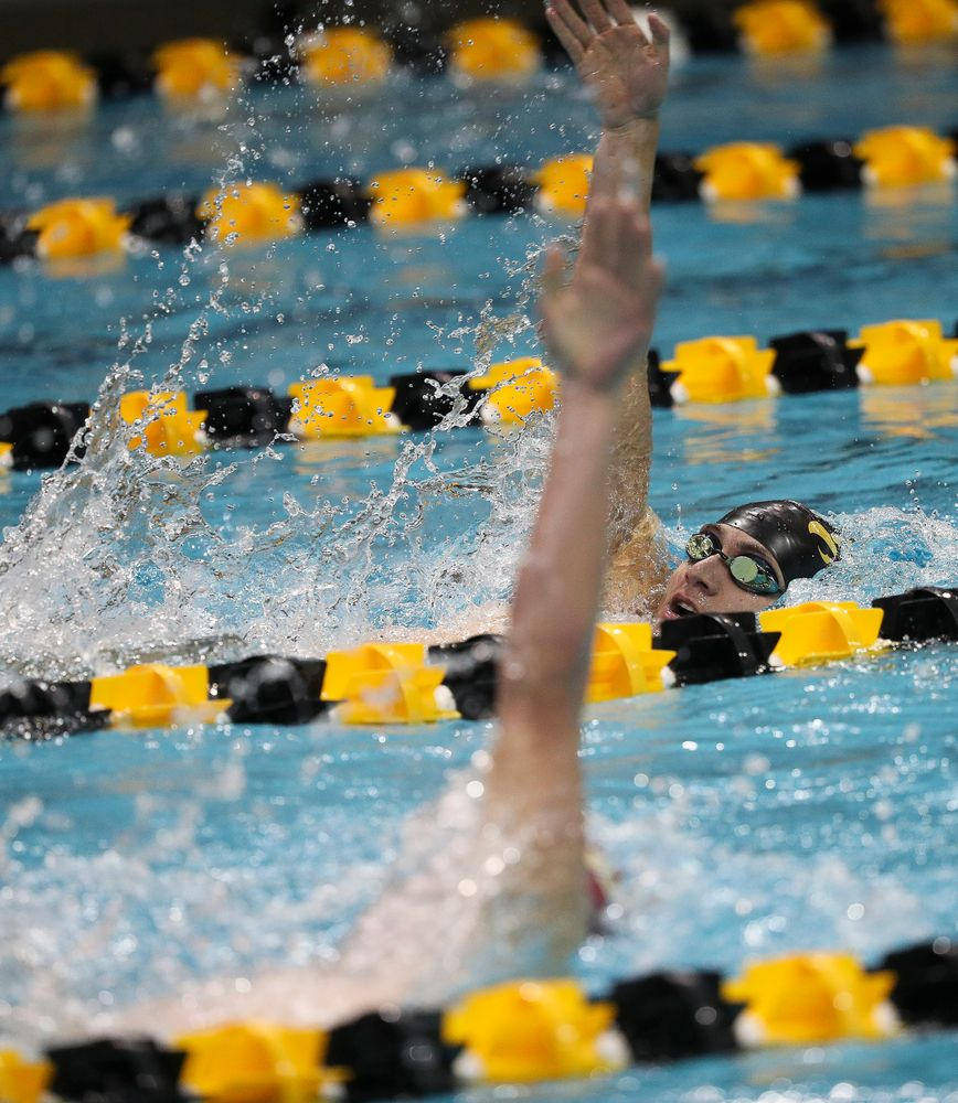 Iowa's Michael Tenney competes in the 400-yard individual medley during a meet against Michigan and Denver at the Campus Recreation and Wellness Center on November 3, 2018. (Tork Mason/hawkeyesports.com)