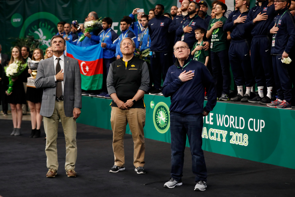 University of Iowa President Bruce Harreld and Dan Gable following the gold medal match of the United World Wrestling Freestyle World Cup against Azerbaijan Sunday, April 8, 2018 at Carver-Hawkeye Arena. (Brian Ray/hawkeyesports.com)