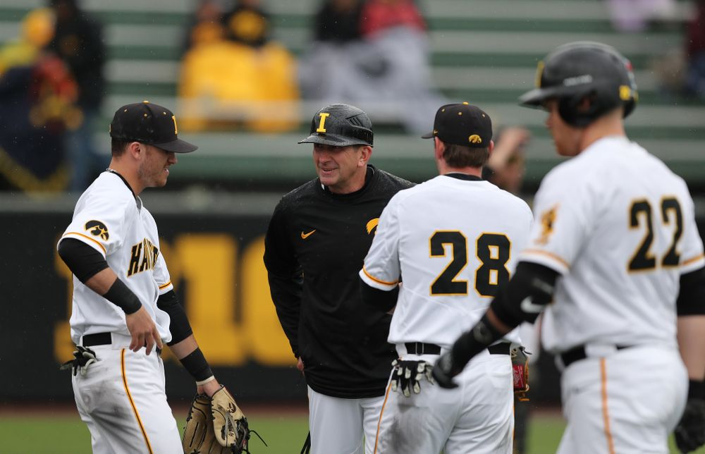 Iowa Hawkeyes head coach Rick Heller against Michigan State Sunday, May 12, 2019 at Duane Banks Field. (Brian Ray/hawkeyesports.com)