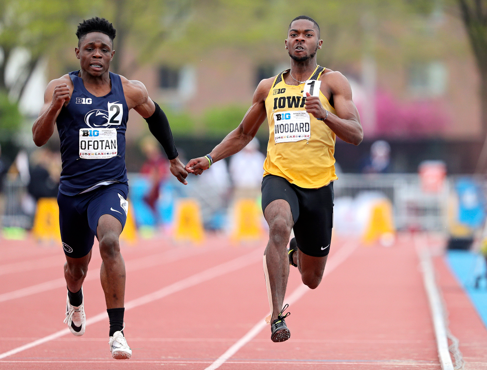 Iowa's Antonio Woodard runs the men's 100 meter dash event on the third day of the Big Ten Outdoor Track and Field Championships at Francis X. Cretzmeyer Track in Iowa City on Sunday, May. 12, 2019. (Stephen Mally/hawkeyesports.com)