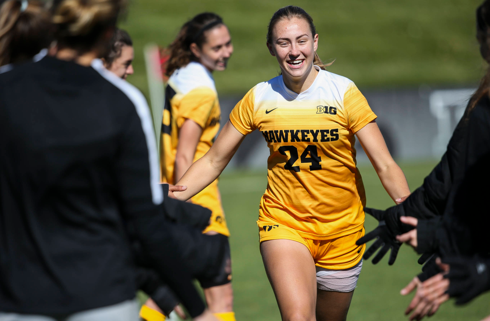 Iowa Hawkeyes defender Sara Wheaton (24) is introduced before a game against Northwestern at the Iowa Soccer Complex on October 21, 2018. (Tork Mason/hawkeyesports.com)